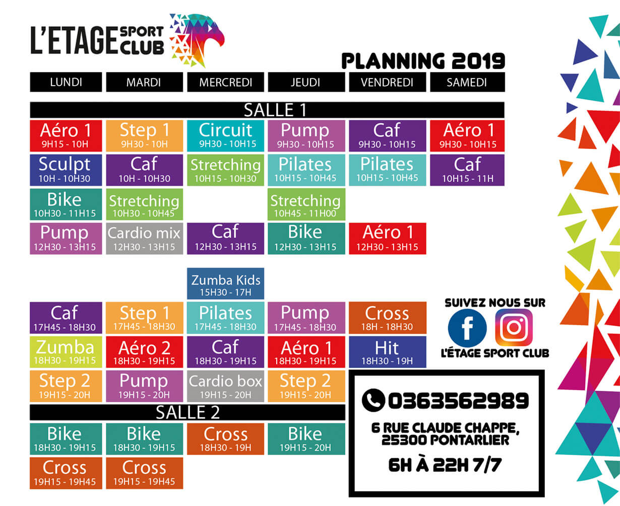 Planning 2019 des cours collectif fitness danse Pontarlier
